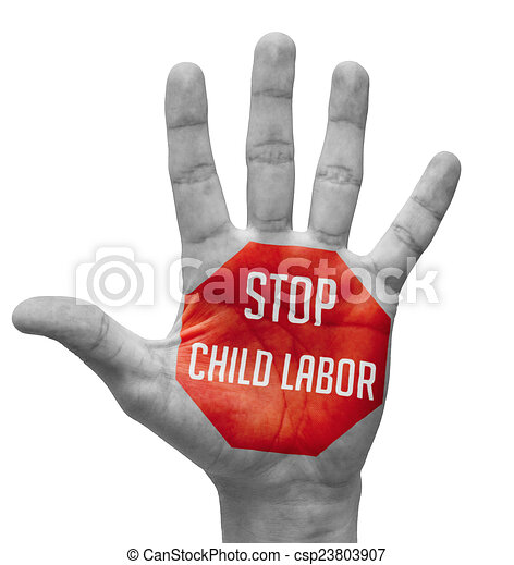stock illustration of stop child labor on open hand