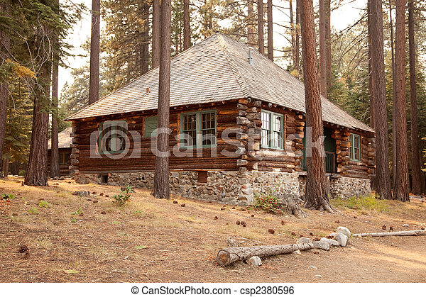 Stock Image Of Classic Vintage Log Cabin Amidst The Pine