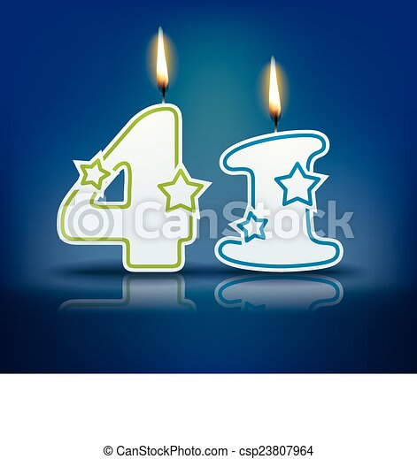 Vector - Birthday candle number 41 - stock illustration, royalty free ...