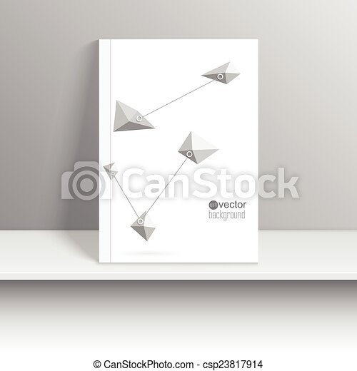Magazine cover standing on a shelf with gray shadows. - csp23817914