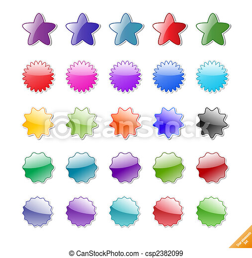 Collection of gloassy web elements. Perfect for adding text or icons. Shadows created with blends. - csp2382099
