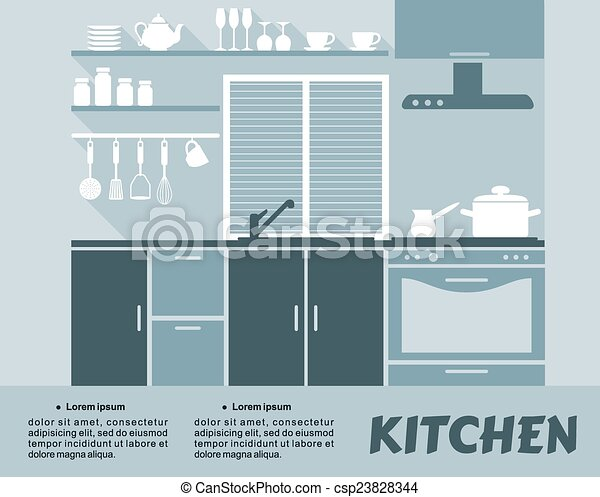 Eps Vector Of Modern Blue Kitchen Interior In Flat Design Flat Blue Csp23828344 Search