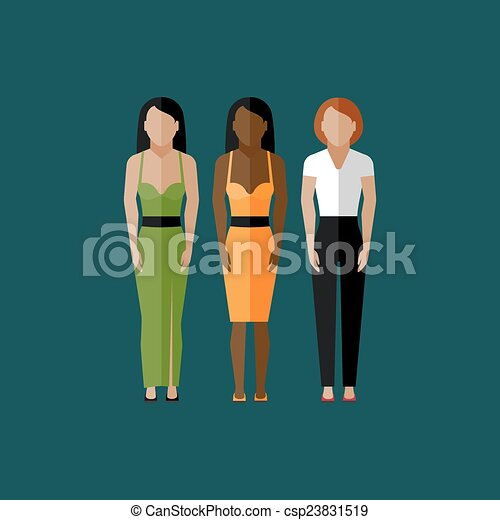 Vector Clip Art of women appearance icons. people flat icons ...