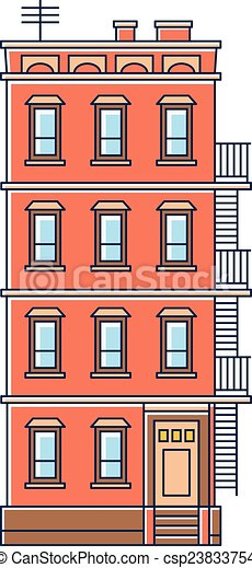 Delighful Apartment Building Illustration White Vector Of By ...