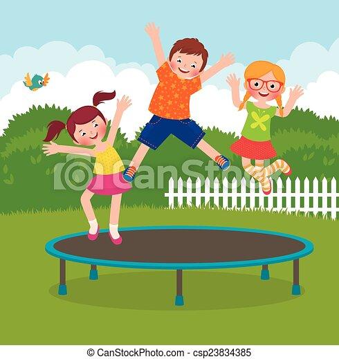vektor von springende kinder trampolin bestand vektor karikatur csp23834385 suchen. Black Bedroom Furniture Sets. Home Design Ideas