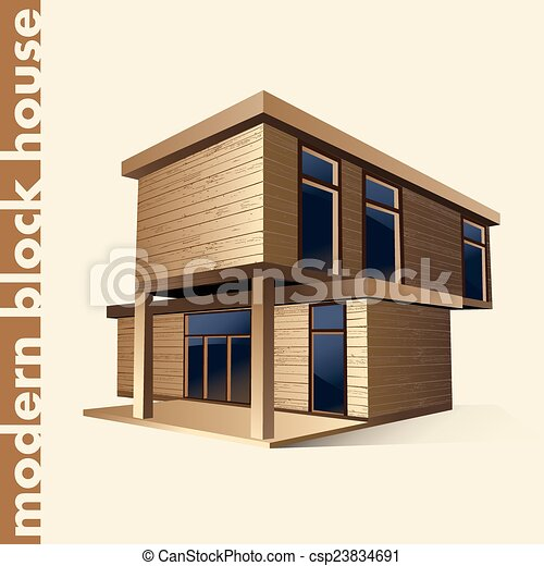Eps vectors of modern block house in color vector for Modern house clipart