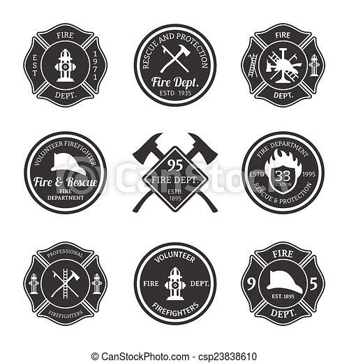Fire department emblems black - csp23838610