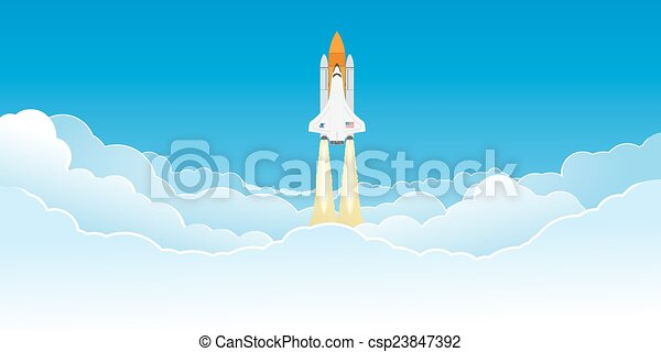 Shuttle flying in clouds. - csp23847392