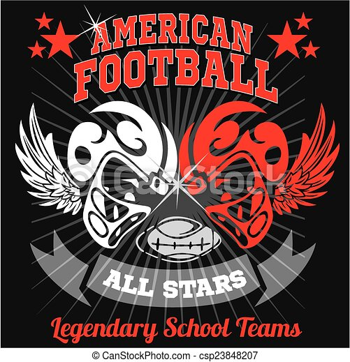 American football - Vintage vector print for boy sportswear - csp23848207