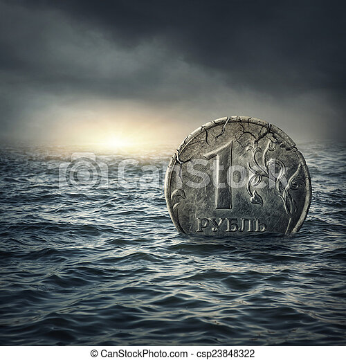 Ruble coin sinking in water - csp23848322