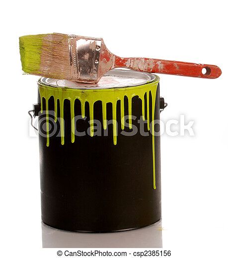 messy yellow paint can with paint on white background - csp2385156