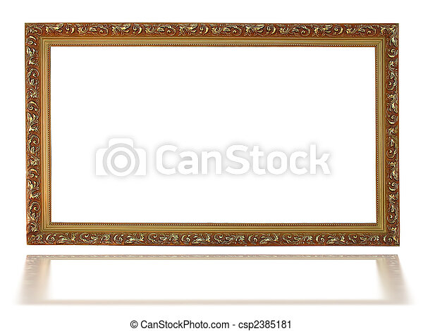 Empty picture gold frame with a decorative pattern - csp2385181
