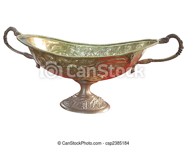 Ancient patterned golden vase isolated over white - csp2385184