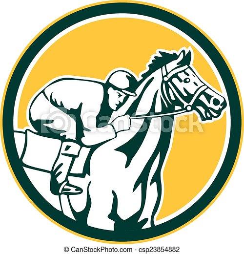 Horse Jockey Logo Jockey Horse Racing Circle