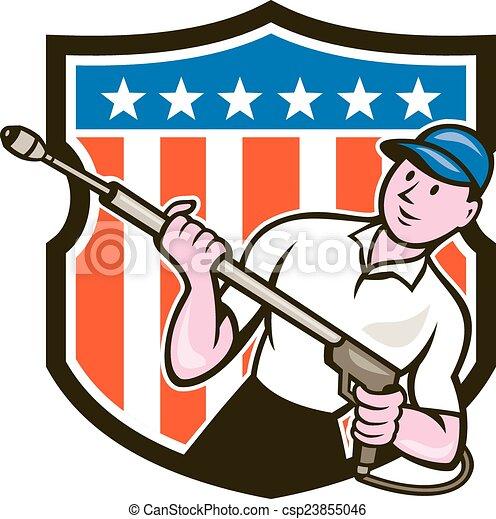 Pressure Washer Water Blaster USA Flag Cartoon - csp23855046