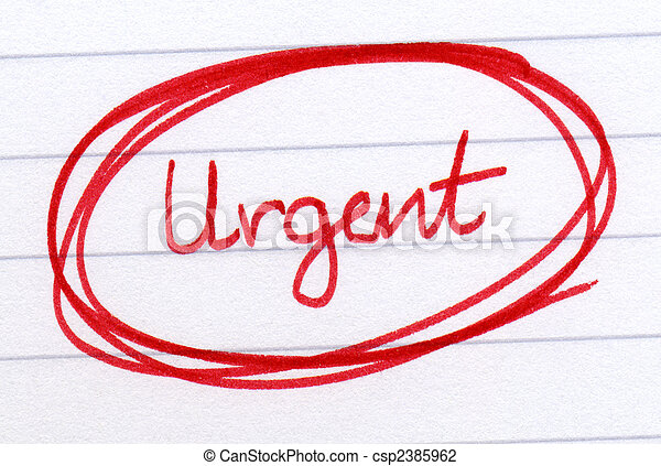 Urgent circled in red ink on white paper. - csp2385962