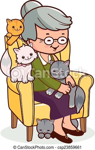 Sessel clipart  Clip Art Vektor von sessel, frau, altes , katzen - Illustration ...
