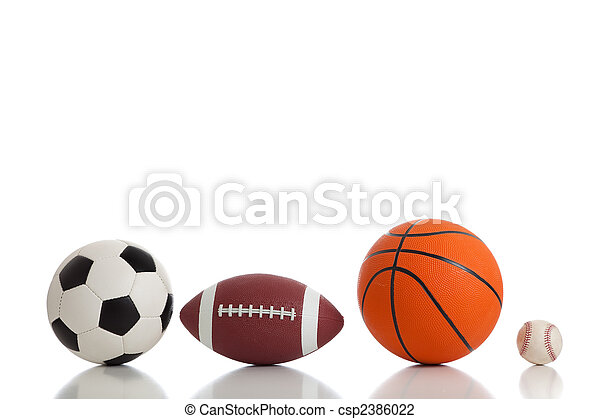 Assorted Sports Balls on White - csp2386022