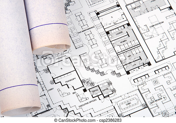Plans and blueprints for an architect\'s design drawings