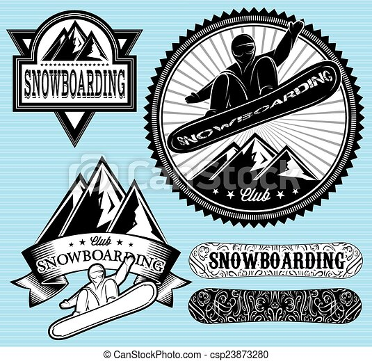 set of templates for extreme snowboarding