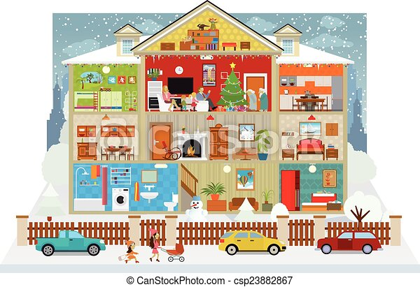 Clip art vecteur de maison int rieur christmas for Dessin d interieur de maison