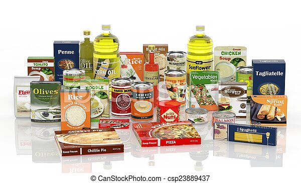 3D collection of packaged food isolated on white background  - csp23889437
