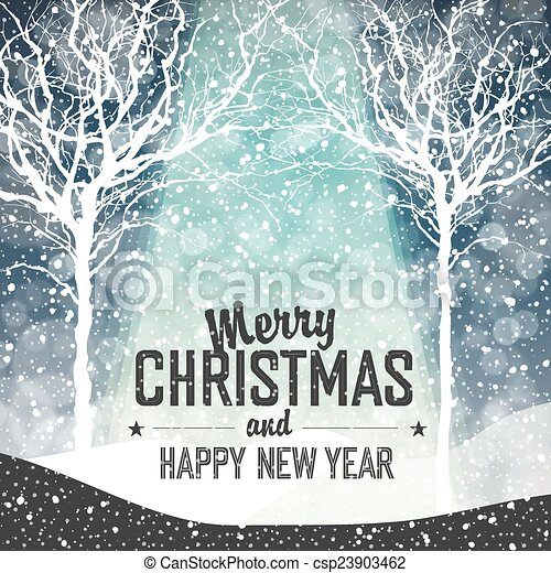 Falling Snow. Merry Christmas Background with Text - csp23903462