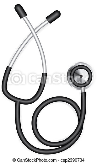 Beautiful realistic vector stethoscope isolated on white background - csp2390734