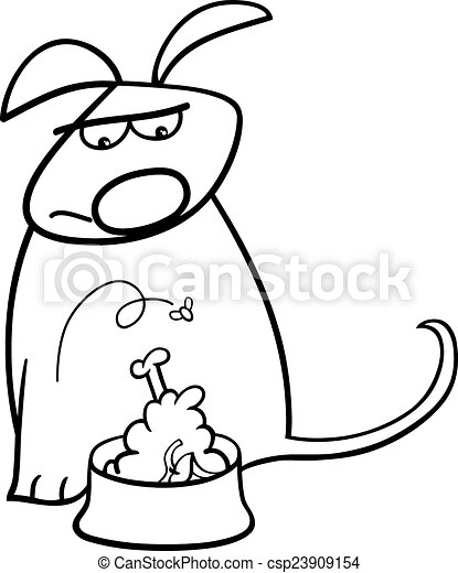 Clipart Vector of dog and nasty food coloring page - Black and ...