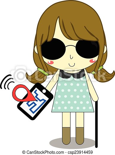Clipart Vector of blind and smartphone - blind female has ...
