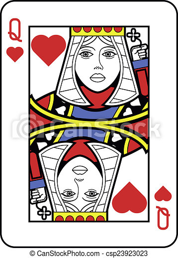 Clip Art of Stylized Queen of Hearts with strong outline ...