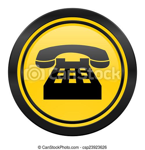 Clip Art of phone icon, yellow logo, telephone sign csp23923626 ...
