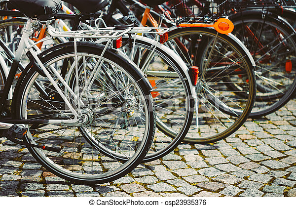 Row Of Parked Bicycles. Bicycle Parking In Big City