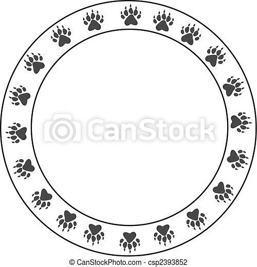 Round bearpaw print border  - csp2393852