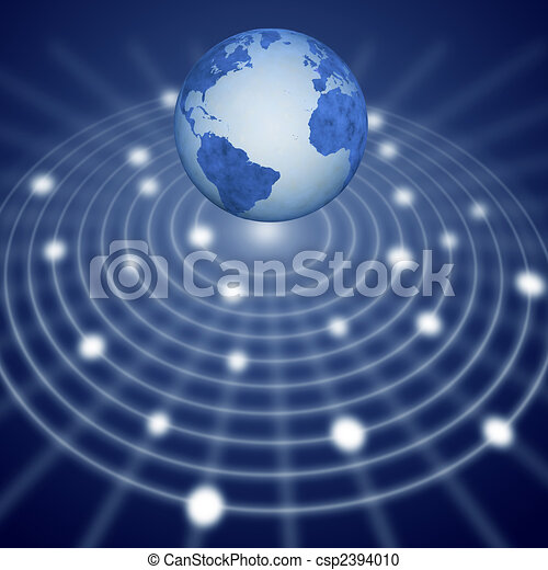Blue earth floats over communication network system - csp2394010