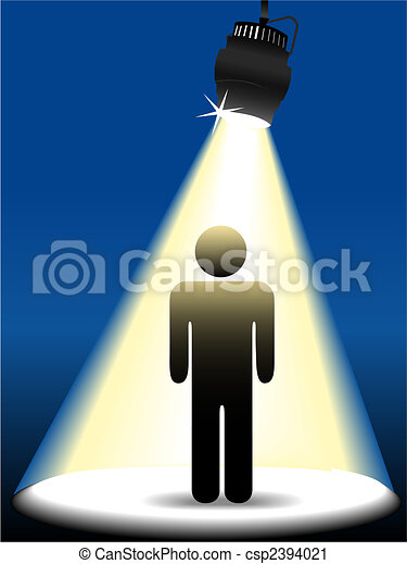 Symbol person on stage in the spotlight - csp2394021