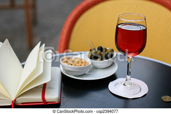 Kir cassis, nibbles and and personal organizer - csp2394077