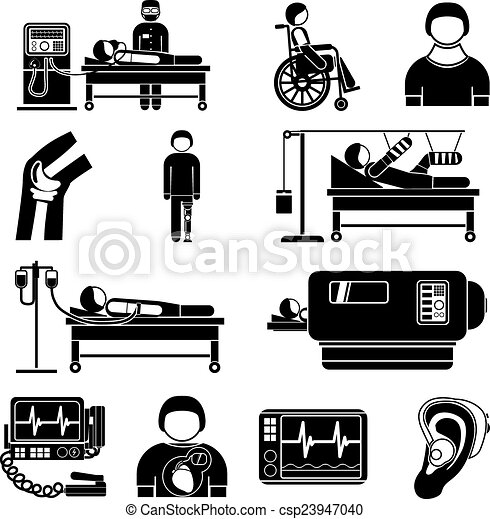 EPS Vector of Life support medical equipment icons - Healthcare ...