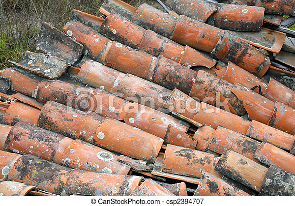 Collapsed terra cotta tile roof - csp2394707