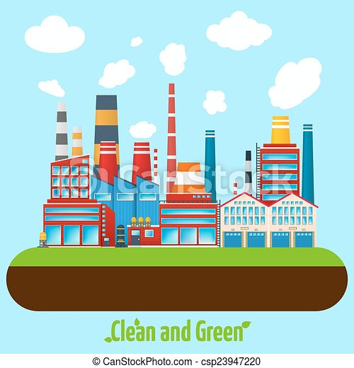 Vector Illustration of Green Industry Poster - Clean and ...