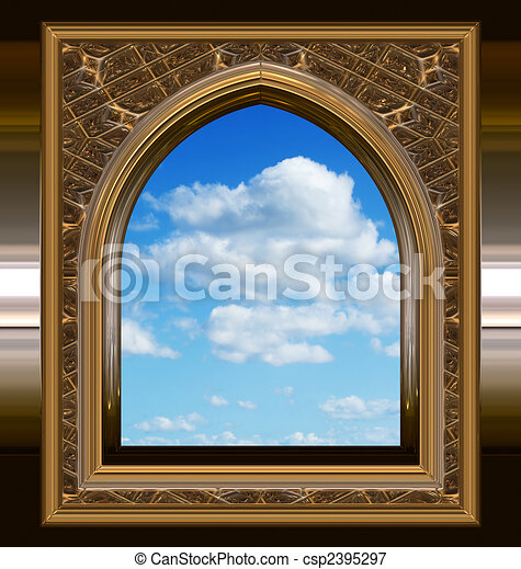 gothic or scifi window with blue sky - csp2395297