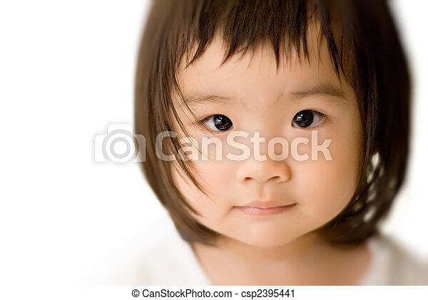 innocent asian baby face  - csp2395441