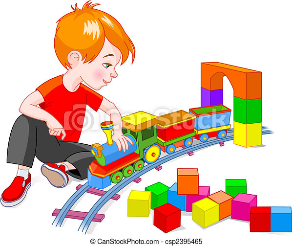 Clipart Vector Of Boy With Train Set Little Boy Playing