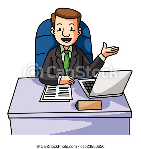 Vecteur clipart de succes homme business bureau for Bureau de dessin
