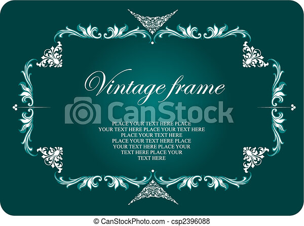 Vintage frame. Floral vector colored illustration. Wedding Invitation - csp2396088
