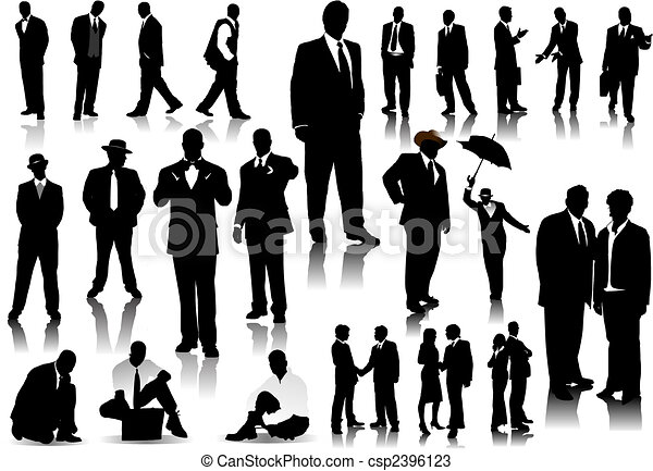 Office people silhouettes. Vector with one click color change - csp2396123