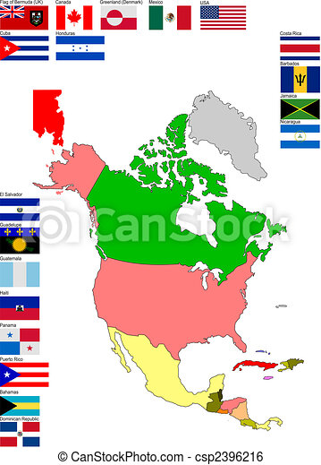 Map of North and Central America with country flags - csp2396216