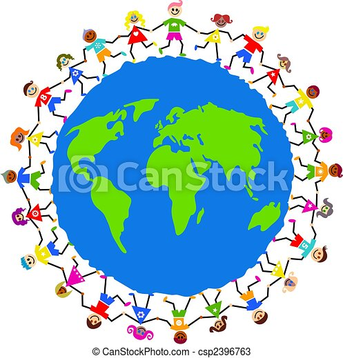 and diverse kids holding hands around a... csp2396763 - Search Clipart ...