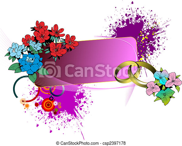 Wedding or Valentine`s day card. Vector illustration. Can be used as invitation - csp2397178