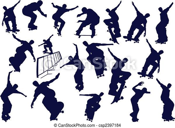 Skateboard boys vector illustration. One click color change  - csp2397184